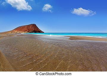 la, de, tenerife, playa, tejita, 海滩
