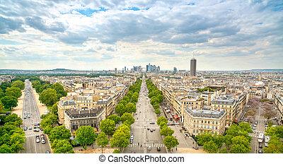 La Defense business area, La Grande Armee avenue. View from Arc de Triomphe. Paris, France, Europe.