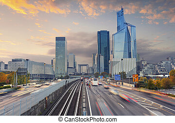 La Defense, Paris. - Image of office buildings in modern...