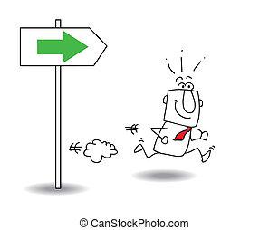 la derecha de la dirección
