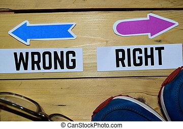 la derecha de la dirección, contrario, mal, señales, o