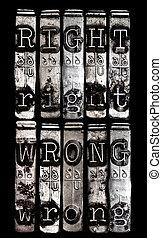 la derecha y mal, concepto
