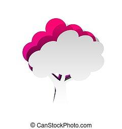 la, desmontable, árbol, papel, underlying, vector., icon., ...