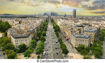 la, district, paris, cinemagraph.4k.view, défense, france,...