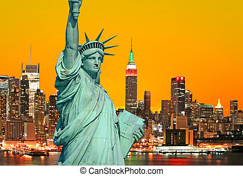 la estatua de la libertad, y, ciudad nueva york