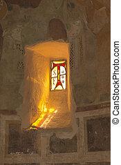 la, foresta, franciscan, 窓, rieti, 修道院, 小さい