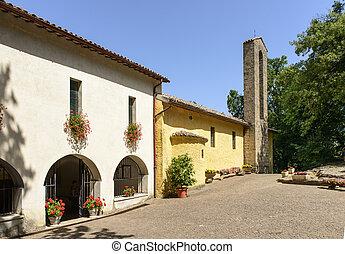 la, foresta, franciscan, rieti, 修道院, 入口