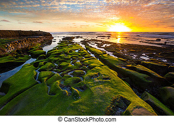 A beautiful sunset on the coast of La Jolla, San Diego, California.