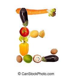 la letra e, en, vario, frutas y vehículos