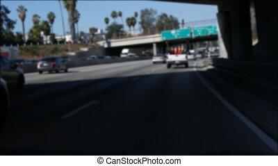 la, los angeles, californie, verre, conduite, autoroute, ...
