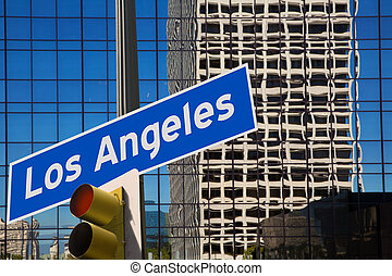 LA Los Angeles downtown wit road sign photo mount in ...
