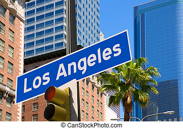 LA Los Angeles sign in redlight photo mount on downtown...