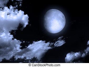 la luna, en, el, cielo de la noche, en, nubes