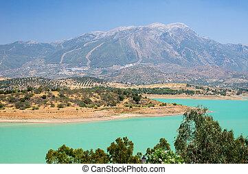 Andalucia in Spain: Lake Vinuela and the mountain, La Maroma