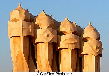 la, mila, casa, バルセロナ, -, 呼ばれる, gaudi, (also, pedrera), 煙突