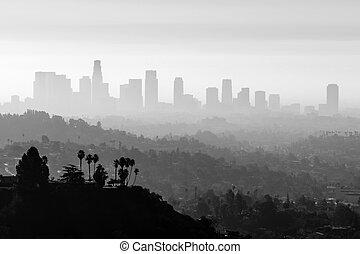 la, niebla tóxica, y, niebla, negro y blanco