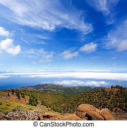 La Palma Caldera de Taburiente sea of clouds in canary...