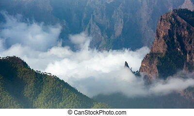 La Palma La Cumbrecita And Clouds, Spain - Clouds moving in...