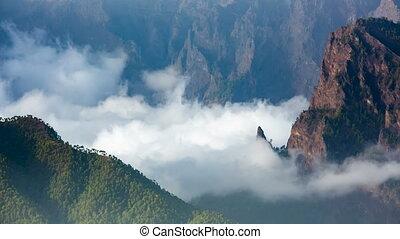 La Palma La Cumbrecita And Clouds, Spain - Clouds moving in...