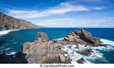 La Palma Playa De Nogales Rocks, Spain - Rocks and waves at...