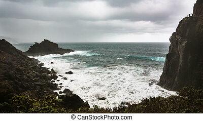 La Palma Playa De Nogales Storm Waves, Spain - Storm and...