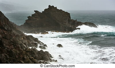 La Palma Playa De Nogales Storm Waves, Spain - Storm and...