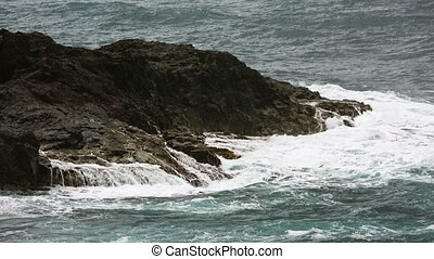 La Palma Rocks And Storm Waves, Spain - Detail view of storm...