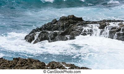 La Palma Volcano Rocks And Waves, Spain - Detail view of...