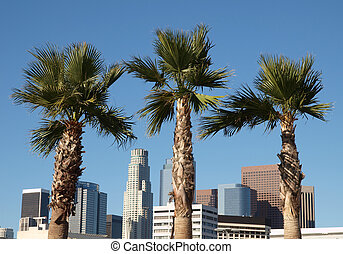 Palm trees and highrise office towers of downtown Los Angeles, California.