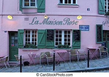 la, parís, rosa, restaurante, maison, montmartre
