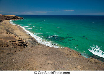 La Pared, Fuerteventura - La Pared, eroded west coast of...