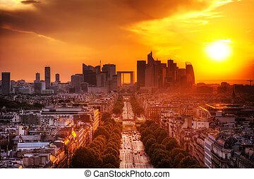 la, parijs, france., verdediging, ondergaande zon , champs-elysees