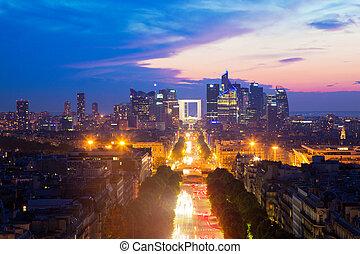 la, paris, france., défense, coucher soleil, champions-elysees
