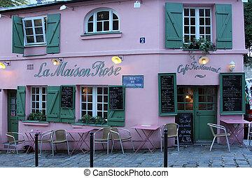 la, paris, montmartre, maison, restaurant, rose