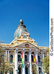 Vertical view of the legislature building in La Paz, Bolivia