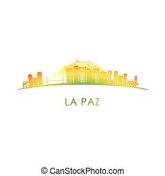 La Paz skyline silhouette. Vector design colorful...