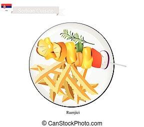 la plupart, nourriture, serbie, une, célèbre, raznjici