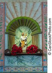 La Purisima Conception mission CA - Christ statue in main...