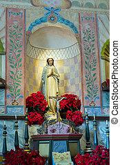 La Purisima Conception mission CA - Mary statue in main...