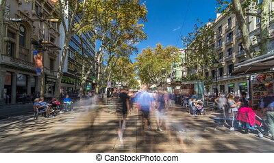 La Rambla street in Barcelona timelapse hyperlapse, Spain....