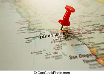 LA - Red pushpin in map of Los Angeles, California...