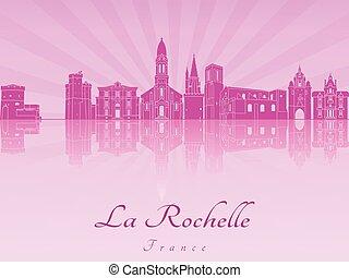 La Rochelle skyline in purple radiant orchid in editable...