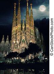 La Sagrada Familia -Cathedral designed by Gaudi at night....