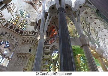 La Sagrada Familia, the unrealistic cathedral designed by...