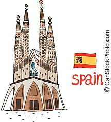 La Sagrada Familia Vector illustration - BARCELONA, SPAIN -...