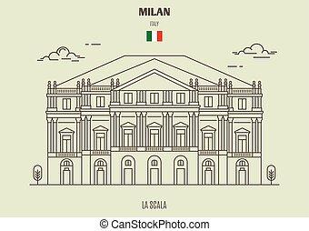 La Scala in Milan, Italy. Landmark icon in linear style