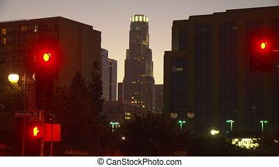 LA Skyline Day to Night Time-lapse