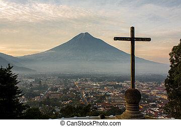 la, sobre, de, cruz, agua, guatemala, opor, vulcão, cerro,...