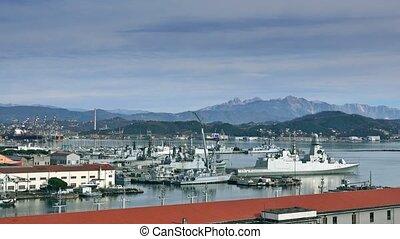 La Spezia harbor and the naval base, Italy - La Spezia...