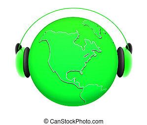 la terre, écouteurs, musique